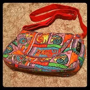 Vtg Laurel Burch 🌈 Cat Messenger style bag